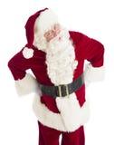 Verärgerte Santa Claus Standing With Hands On-Hüften Stockfoto
