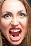 Verärgerte schreiende Frau stockbild