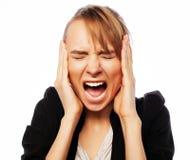 Verärgerte schreiende Geschäftsfrau Stockbild