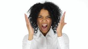 Verärgerte schwarze schreiende und schreiende Frau lizenzfreies stockbild
