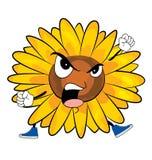 Verärgerte Sonnenblumenkarikatur Stockbild