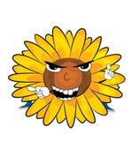 Verärgerte Sonnenblumenkarikatur Lizenzfreie Stockbilder