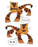 Verärgerte und lächelnde Tiger Stockfoto