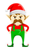 Verärgerte Weihnachtselfe mit dem Schnurrbart lizenzfreie abbildung