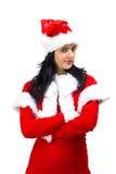 Verärgerte Weihnachtsmann-Frau mit den Armen kreuzte Stockbilder