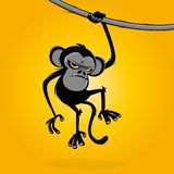Verärgerter Affe, der an einer Liane hängt vektor abbildung