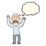 verärgerter alter Mann der Karikatur mit Gedankenblase Stockbild