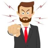 Verärgerter bärtiger Geschäftsmann, der seinen Finger auf Sie zeigt Lizenzfreie Stockbilder