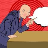 Verärgerter Chef schwört auf Hintergrund im Stil der Pop-Arten-Seite konkurrieren stock abbildung