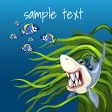 Verärgerter Haifisch unter Algen und ein Satz kleine Fische stock abbildung