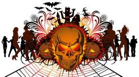 Verärgerter Halloween-Schädel und Tanzenleute Lizenzfreie Stockfotografie