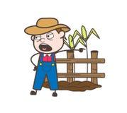 Verärgerter Karikatur-Landwirt Shouting und Geben des Bestellungs-Vektors stock abbildung