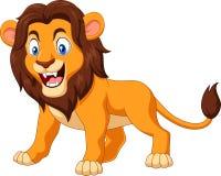 Verärgerter Löwe der Karikatur lokalisiert auf weißem Hintergrund Stockbild