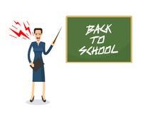 Verärgerter Lehrer mit dem Ärger und Schrei, die mit Zeiger stehen Stockbild