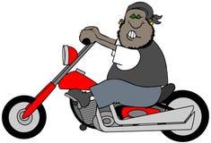 Verärgerter Mann, der ein Motorrad reitet lizenzfreie abbildung