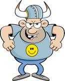 Verärgerter Mann der Karikatur, der einen Wikinger-Sturzhelm trägt Stockfoto
