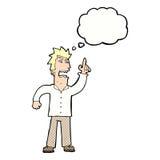 verärgerter Mann der Karikatur, der Punkt mit Gedankenblase macht Lizenzfreie Stockbilder