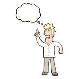 verärgerter Mann der Karikatur, der Punkt mit Gedankenblase macht Stockbild