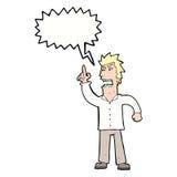verärgerter Mann der Karikatur, der Punkt mit Spracheblase macht Stockbild