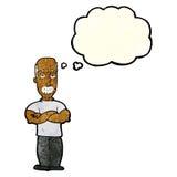 verärgerter Mann der Karikatur mit dem Schnurrbart mit Gedankenblase Stockbilder