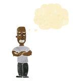 verärgerter Mann der Karikatur mit dem Schnurrbart mit Gedankenblase Stockfotografie