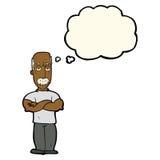 verärgerter Mann der Karikatur mit dem Schnurrbart mit Gedankenblase Lizenzfreie Stockfotos
