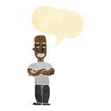 verärgerter Mann der Karikatur mit dem Schnurrbart mit Spracheblase Lizenzfreies Stockbild
