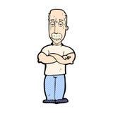 verärgerter Mann der komischen Karikatur mit dem Schnurrbart Stockfoto