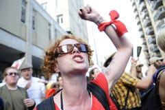 Verärgerter Protestierender. Stockfoto
