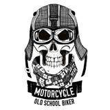 Verärgerter SCHÄDEL für Motorrad, Radfahrert-shirt vektor abbildung