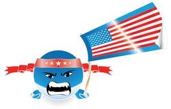 Verärgerter schlechter amerikanischer Emoticon mit US-Markierungsfahne Lizenzfreie Stockfotografie