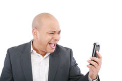Verärgerter schreiender Geschäftsmann stockfotografie