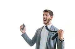 Verärgerter schreiender Geschäftsmann Stockfotos
