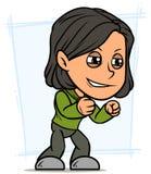 Verärgerter stehender brunette Mädchencharakter der Karikatur lizenzfreie abbildung