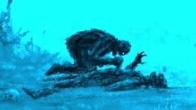 Verärgerter Zombie sitzt und isst sein Opfer lizenzfreie abbildung