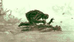 Verärgerter Zombie sitzt und isst sein Opfer Grüne Farbe vektor abbildung