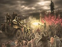 Verärgerter Zombiehordenangriff auf einem gepanzerten Truppentransporter stockbilder