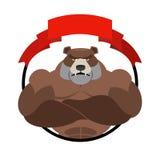 Verärgertes Bärnathlet Round-Emblem Großes wildes Tier Kugelkreiserdeplanetenreisenweb-Internet busines Farben-Anschlagland Stockfotos