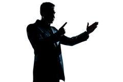 Verärgertes Bedrohen des Schattenbildmann-Portraits stockbild