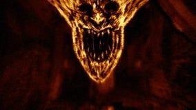 Verärgertes Dämongesicht schreit im Feuer Orange Farbe lizenzfreie stockfotografie