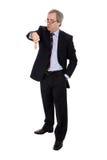 Verärgertes Geschäftsmannportrait mit dem Daumen unten Stockbilder
