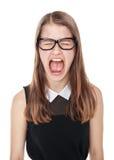 Verärgertes junges Jugendlicheschreien lokalisiert Lizenzfreies Stockbild