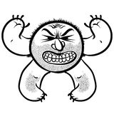 Verärgertes Karikaturmonster mit Stoppel, Schwarzweiss-Linien Vektor Stockfoto