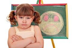 Verärgertes kleines Mädchen und smiley Stockbild