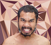 Verärgertes Manngesicht in der dreieckigen Art Stockfoto
