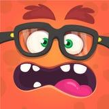 Verärgertes Monstergesicht der Karikatur Tragende Gläser Auch im corel abgehobenen Betrag lizenzfreie stockfotos