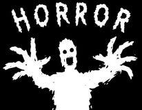 Verärgertes Monsterschattenbild mit glühenden Augen zeichnet seine Hände Auch im corel abgehobenen Betrag Lizenzfreie Stockfotos