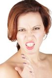 Verärgertes Schönheitsfrauenporträt Stockfotografie