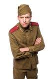 Verärgertes Schauen des russischen Soldaten Stockfotos