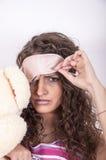 Verärgertes schläfriges Mädchen Stockfoto